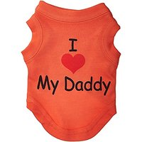 Mirage Pet Products 8-Inch I Love My Daddy Screen Print Shirts For Pets, X-Small, Orange