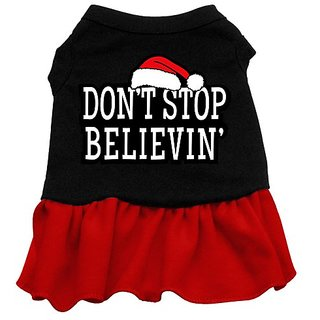 Mirage Pet Products 14-Inch Dont Stop Believing Screen Print Dress, Large, Black with Red