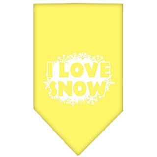 Mirage Pet Products I Love Snow Screen Print Bandana for Pets, Large, Yellow