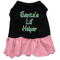 Mirage Pet Products 18-Inch Santas Lil Helper Screen Print Dress, XX-Large, Black With Red