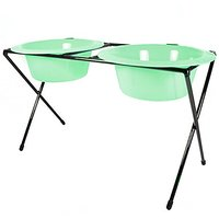 Platinum Pets Platinum Pets 2-Cup Delux Double Diner Stand With Wide Rimmed Bowls, Winter Mint
