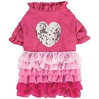 East Side Collection Glimmer Ruffle Dress, Small, Pink
