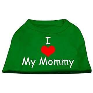 Mirage Pet Products 14-Inch I Love My Mommy Screen Print Shirts For Pets, Large, Emerald Green