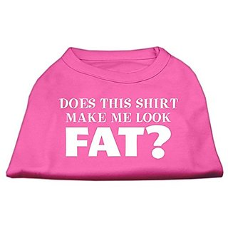 Mirage Pet Products 8-Inch Does This Shirt Make Me Look Fat Screen Printed Shirt for Pets, X-Small, Bright Pink