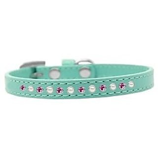 Mirage Pet Products Pearl and Pink Crystal Aqua Puppy Dog Collar, Size 12