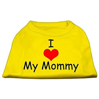Mirage Pet Products 8-Inch I Love My Mommy Screen Print Shirts For Pets, X-Small, Yellow