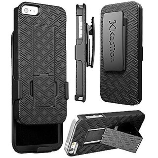 iPhone 5s case, KaptronTM Hybrid Dual Layer Combo Armor Defender Protective Case With Kickstand and Belt Clip for iPhone