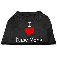 Mirage Pet Products 10-Inch I Love New York Screen Print Shirts For Pets, Small, Black