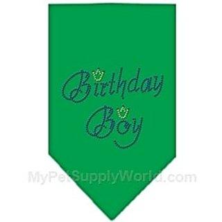 Mirage Pet Products Birthday Boy Rhinestone Bandana, Large, Emerald Green