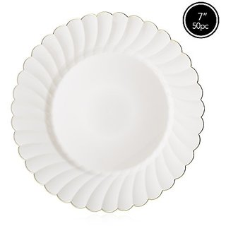 Elite Selection Pack Of 50 Salad Dinner Plates Cream Ivory Color With Gold Flower Rim 7.5-Inch