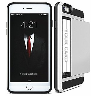 iPhone 6 plus 6s plus Case, Business Card Slot Holder Dual Layer Heavy Duty Protective Tough Bumper Cover Scratch-proof