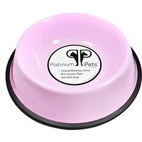 Platinum Pets 2-Cup Non-Embossed Non-Tip Dog Bowl, Cotton Candy Pink