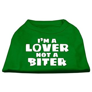 Mirage Pet Products 14-Inch Im a Lover Not a Biter Screen Printed Dog Shirts, Large, Emerald Green
