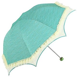 Zewik Sunblock Umbrella with Silver Lining - Uv Protection Umbrella for Rain or Sun-princess Lace Parasol(green)