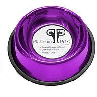 Platinum Pets 3 Cup Non-Embossed Non-Tip Dog Bowl, Purple