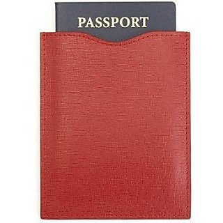 ROYCE RFID Blocking Passport Sleeve in Saffiano Leather - Red