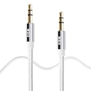 3.3Ft (2 pack) Walo Nylon 3.5mm Male to Male Premium Aux Cable , Auxiliary Audio Cable for Car / Home Stereos, Computer,