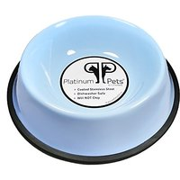 Platinum Pets 4-Cup Non-Embossed Non-Tip Dog Bowl, Sky Blue