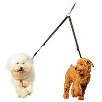 """Fusion Pet Supplies Double Dog Leash Coupler For Walking 2 Small Or Medium Sized Dogs - 16"""" Black"""