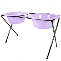 Platinum Pets Platinum Pets 4-Cup Delux Double Diner Stand With Wide Rimmed Bowls, Sweet Lilac