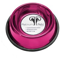Platinum Pets 4 Cup Non-Embossed Non-Tip Dog Bowl, Raspberry