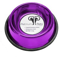 Platinum Pets 4 Cup Non-Embossed Non-Tip Dog Bowl, Purple