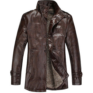 Modo Vivendi Mens PU Leather Jackets with Fur  Men Winter Windproof Thermal Coats  Male Slim Casual Jackets