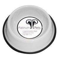 Platinum Pets 1 Cup Non-Embossed Non-Tip Cat/Puppy Bowl, White