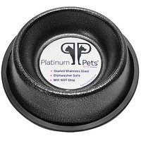 Platinum Pets 1 Cup Non-Embossed Non-Tip Cat/Puppy Bowl, Silver Vein
