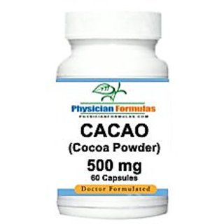 4 Bottles Cocoa Powder Supplement, Cacao, Excellent Antioxidants, 500 Mg, 60 Capsules