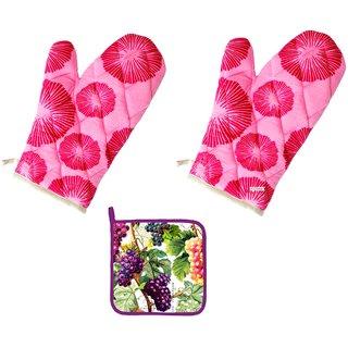 Furnish4Home Cotton Kitchen Set-2 Gloves+1Pot Hold