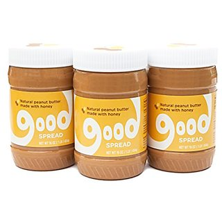 Good Spread Honey Peanut Butter - Natural Peanut Butter, Smooth, 16 oz. Jar (3 Pack)