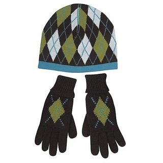 East Side Collection Andover Argyle Hat and Gloves Owner Set, Blue/Brown