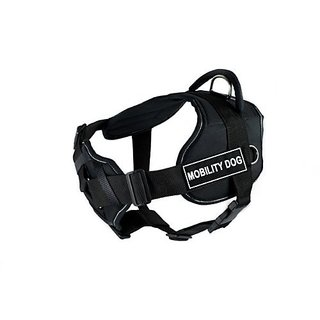 Dean & Tyler Black with Reflective Trim Fun Dog Harness with Padded Chest Piece, Mobility Dog, Medium, Fits Girth Size 2
