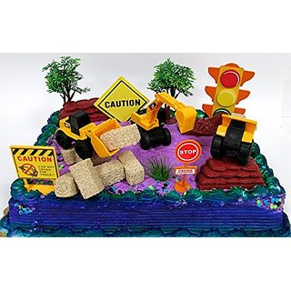 15 Piece CONSTRUCTION TRUCKS Themed Birthday Cake Topper Featuring Heavy Duty Equipment Vehicles and Decorative Themed A