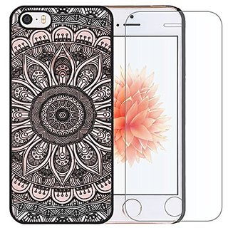 Iphone SE Case, Iphone 5 / 5s Case, A-Focus Mandala Datura Sunflower Damask Henna Baroque Slim Fit Rubberized Hard PC Ca