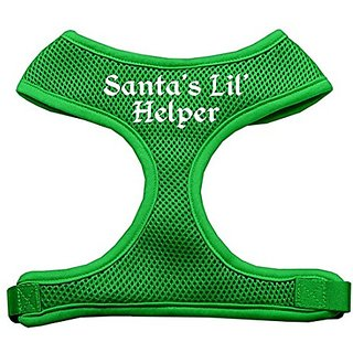 Mirage Pet Products Santas Lil Helper Screen Print Soft Mesh Dog Harnesses, Large, Emerald Green