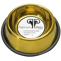 Platinum Pets 2 Cup Non-Embossed Non-Tip Dog Bowl, Gold