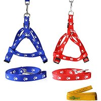 Blue And Red Adjustable Nylon Cat Dog Pet Harness And Leash Set With White Footprint For Cats Dogs Pets, 2 Pack