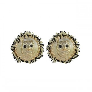 Ce'lavy Stylish Statement Circular Earings with Bird Design For Girls  Women