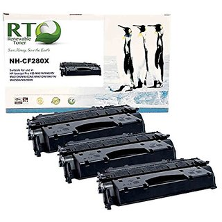 Renewable Toner HP CF280X / HP 80X High Yield Black Laser Toner Cartridge for HP LaserJet Pro 400 Series (3-pack)