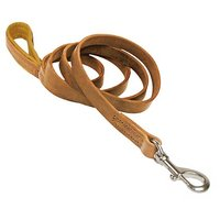 Dean & Tyler Soft Touch Dog Leash With Brown Nappa Padded Handle And Stainless Steel Hardware, 6-Feet By 3/4-Inch, Tan