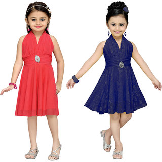 Aarika Girls Self Design Premium Net Birthday Special Frock Combo of 2