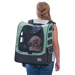 Pet Gear I-GO2 Plus Traveler Rolling Backpack Carrier for cats and dogs, Sage