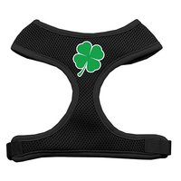 Mirage Pet Products Shamrock Screen Print Soft Mesh Dog Harnesses, Large, Black