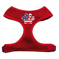Mirage Pet Products Paw Flag USA Screen Print Soft Mesh Dog Harnesses, X-Large, Red