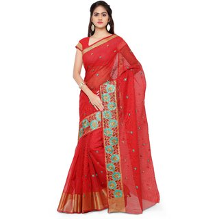 Jainam Red Dori Saree
