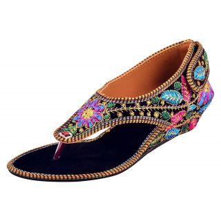 PM Traders Women's Multi-Coloured Indian Ethnic Footwear Rajasthani Juti Velvet Heal Sandal - 10 UK