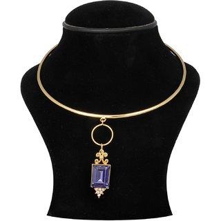 Trisha Jewels 24K Gold Plated Neck Hassli With Blue Crystal Stone