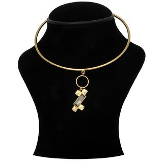 Trisha Jewels 24K Gold Plated Neck Hassli With Smoke Colour Stone